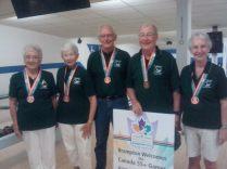 75+ bowling Bronze- M. Wigginton, A. Chandler, H MacDonald, F McNally, N Morrissey